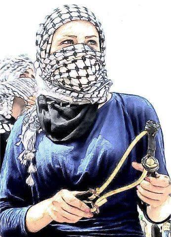 Mujer palestina con honda