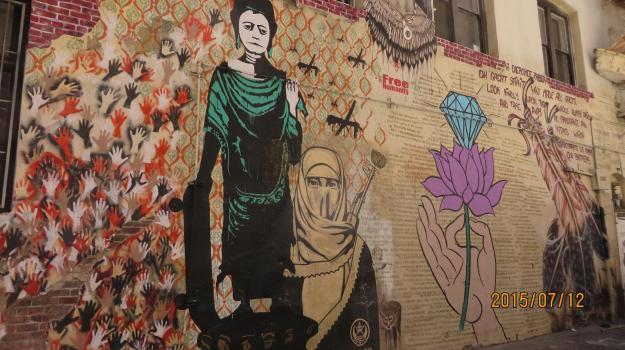 mural de Palestina en Los Angeles, California