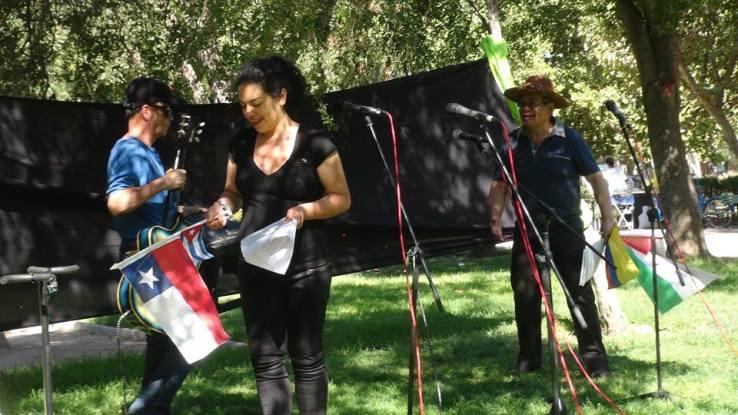 Bandera saharaui y otras - acto Camilo