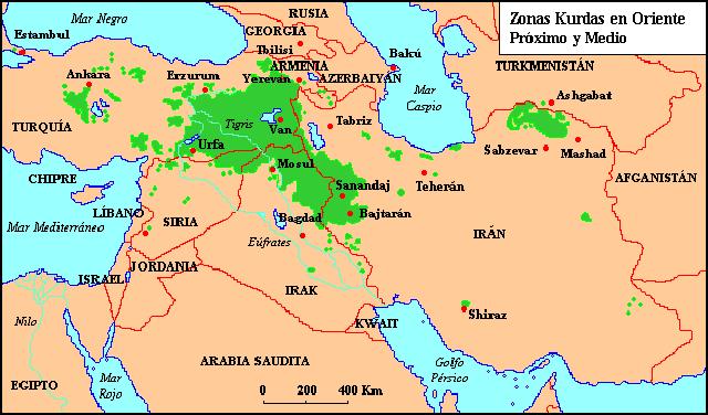Resultado de imagen de mapa oriente y kurdistan